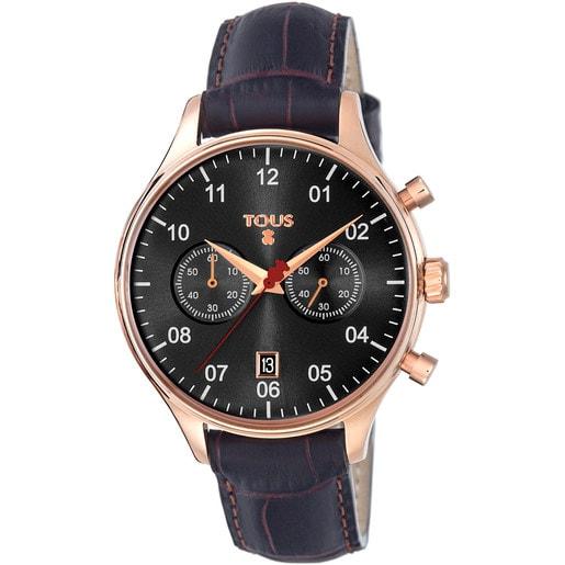 Relógio 1920 em Aço IP rosado com correia de Pele preta