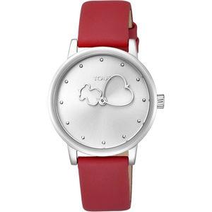 Rellotge Bear Time d'acer amb corretja de pell vermella
