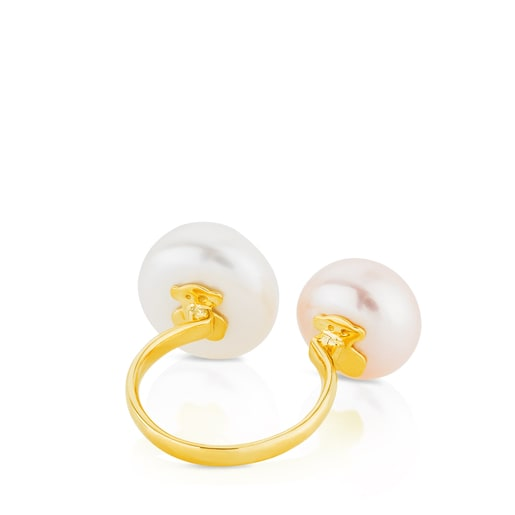 Gold TOUS Pearl Ring with Pearl