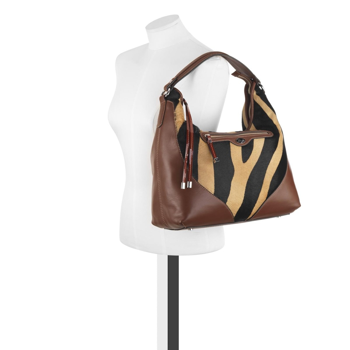 Zebra-cognac colored Leather Rania One Shoulder bag