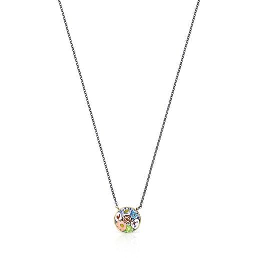 Collar Minifiore disco de Plata Vermeil, Dark Silver y Cristal de Murano