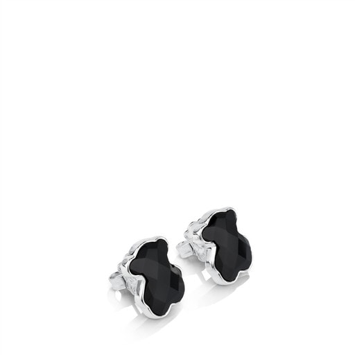 Silver TOUS Color Earrings with faceted onyx