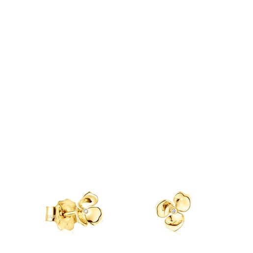 Gold Fragile Nature flower Earrings with Diamonds