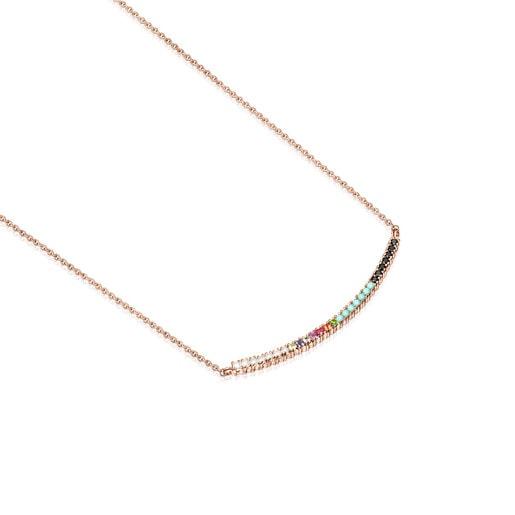 Collar Straight de Plata Vermeil rosa con Gemas