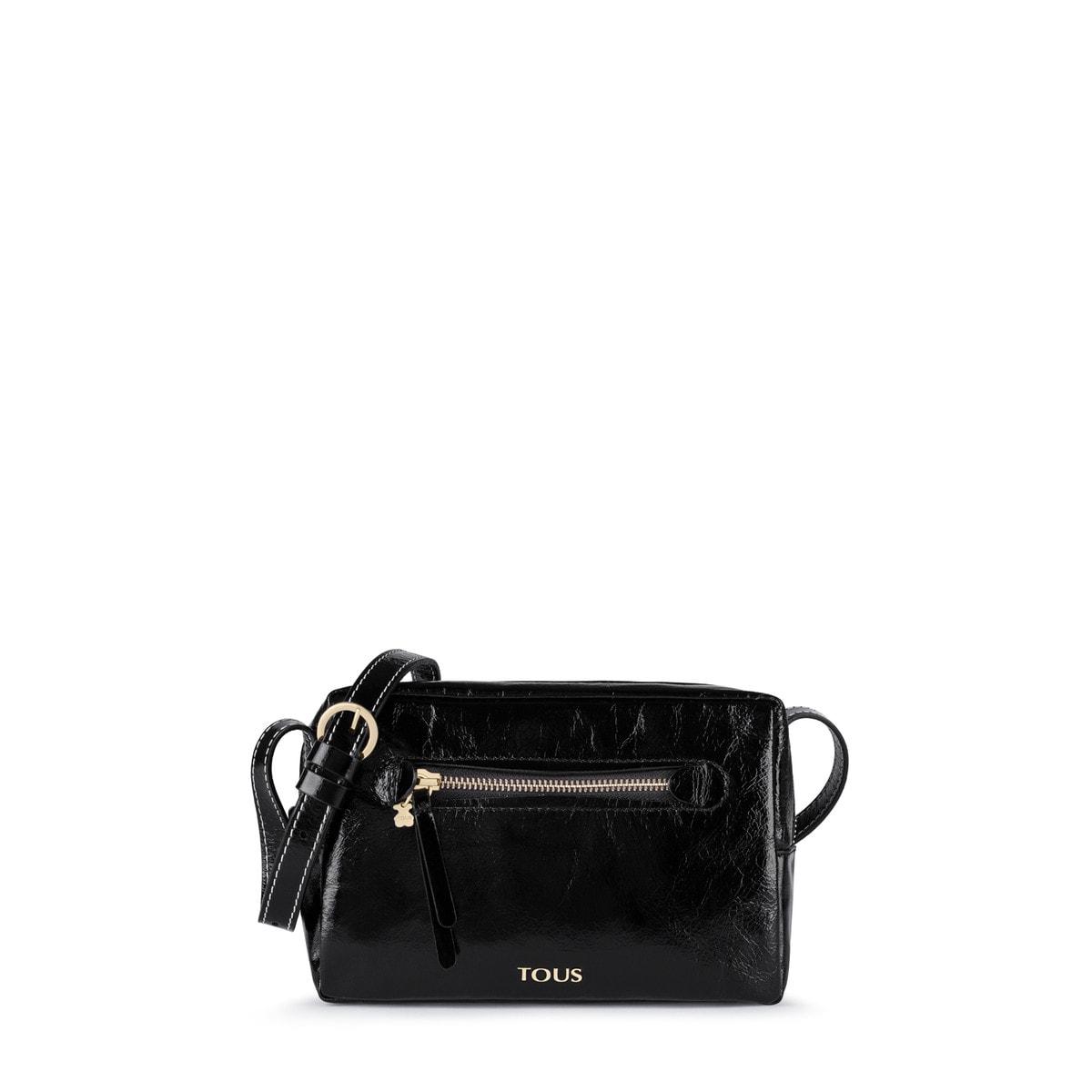 6b05a64e722 Small black Leather Tulia Crack Crossbody bag