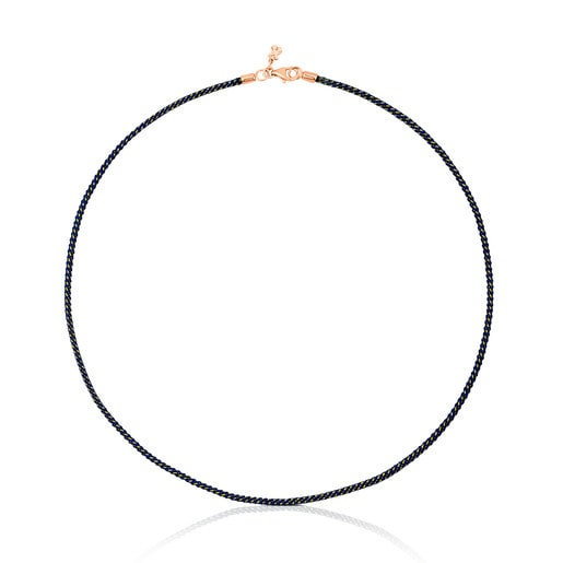 Blue Cord TOUS Chokers Choker with Rose Silver Vermeil