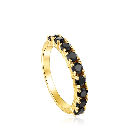 Silver Vermeil Glaring Wedding band with Onyx