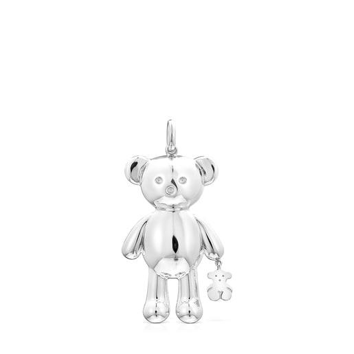 Colgante grande Teddy Bear oso de Plata
