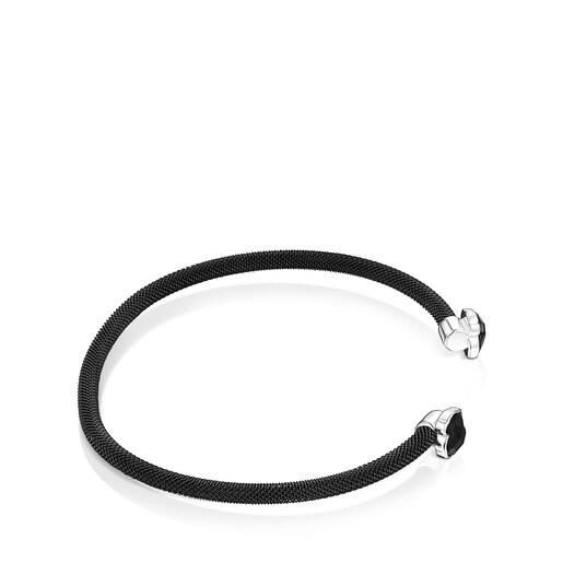 Fine black IP Steel Mesh Color Bracelet with Onyx