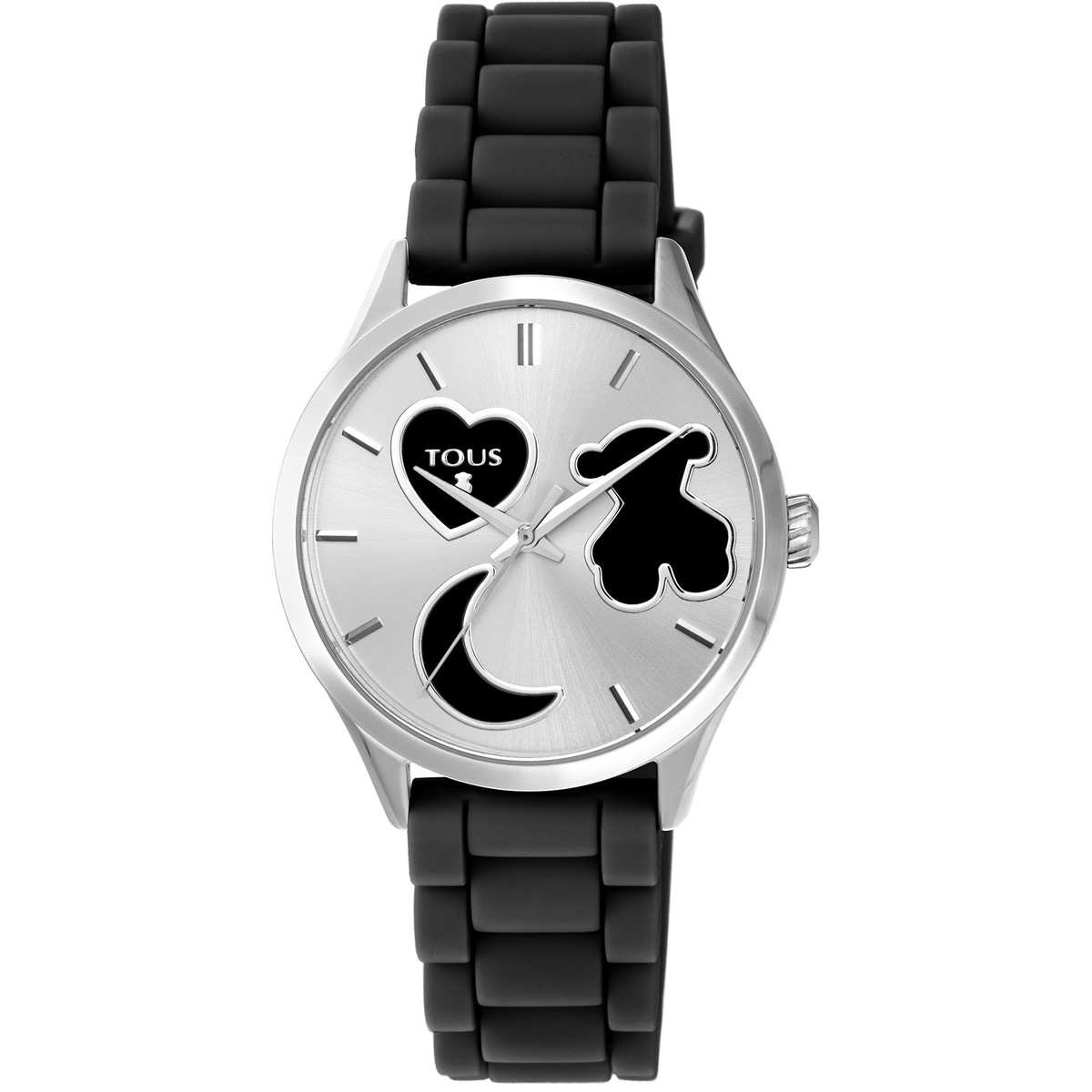 Steel Sweet Power Watch with black silicone strap
