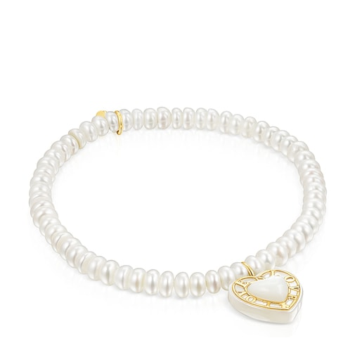 Gold Valentine's Day Bracelet with cultivated Pearls