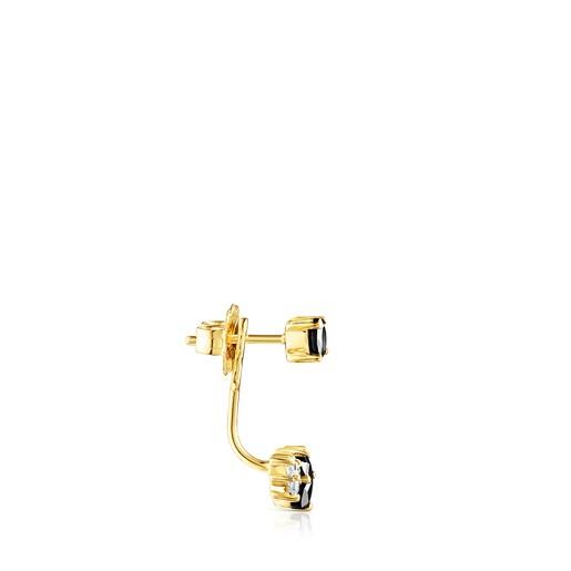 1/2-Ohrring Glaring aus Vermeil-Silber mit Onyx und Zirkonia