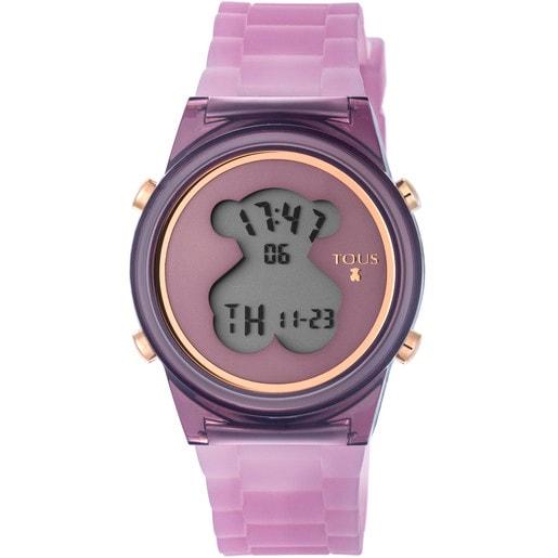 Reloj D-Bear Fresh de policarbonato con correa de silicona lila