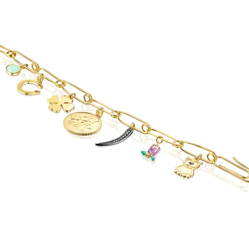 Armband TOUS Good Vibes Clips aus Vermeil-Silber mit Edelsteinen