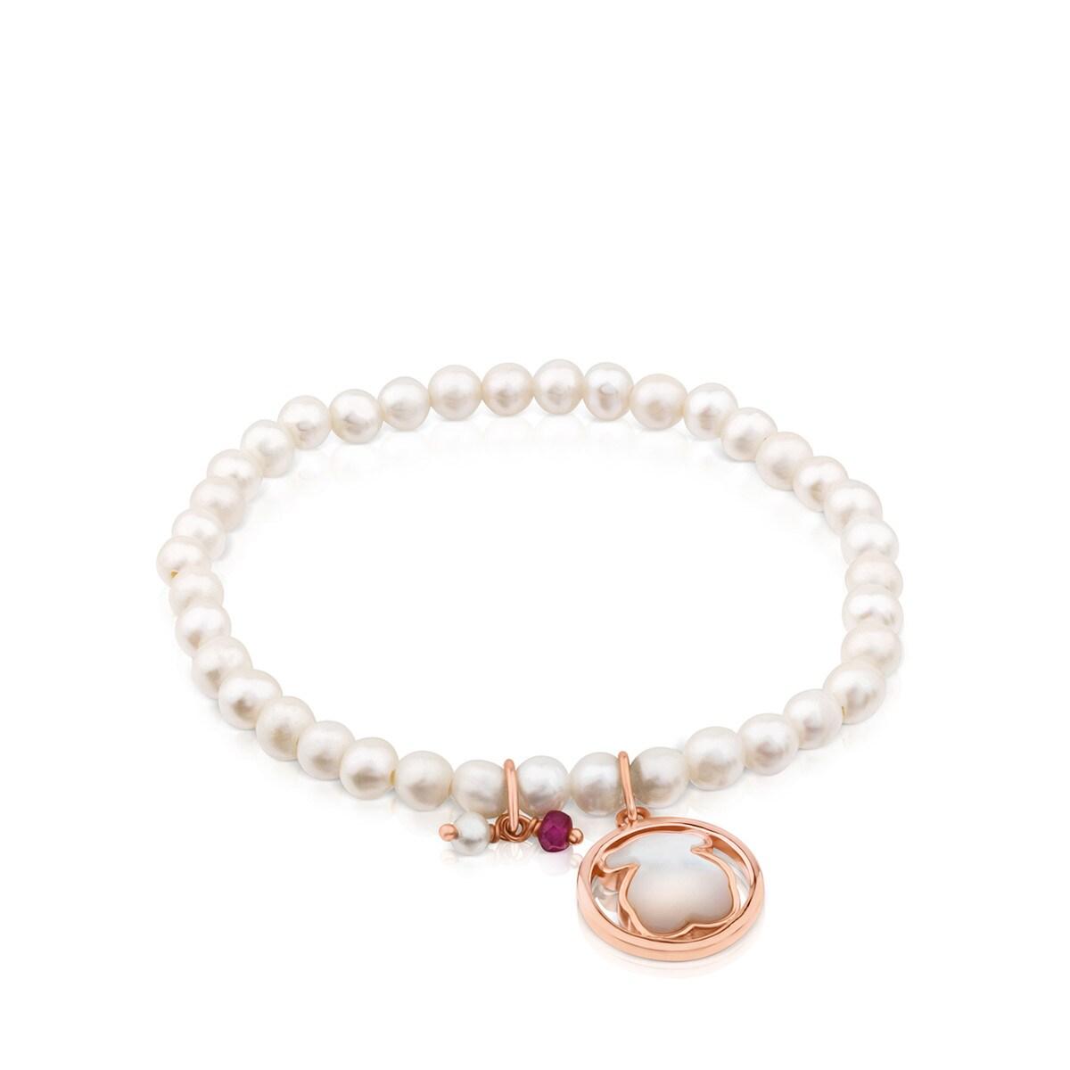 8c3a159f1033 Pulsera Camille de Plata Vermeil rosa con Perlas