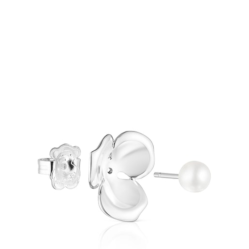Small Silver Fragile Nature flower Earrings with Pearl