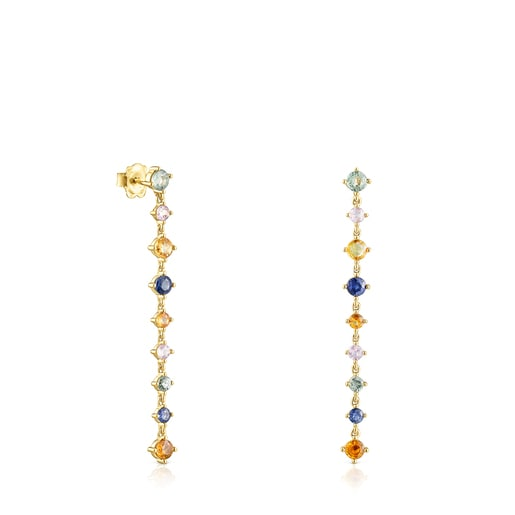 Long Silver Vermeil Glaring Earrings with multicolored Sapphires