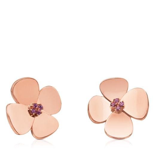 ATELIER Flor Earrings in rose Gold with Rhodolites