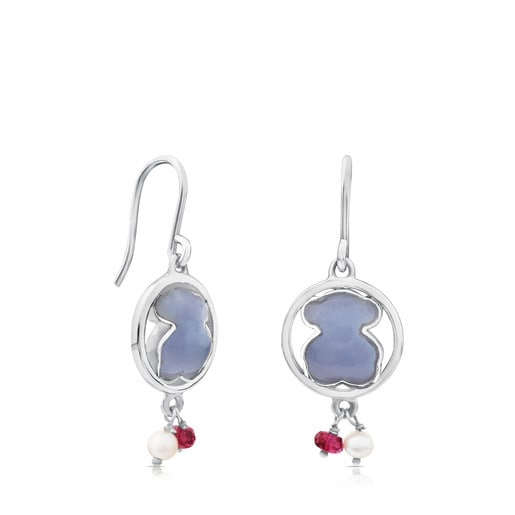 Camille Earrings in Silver with Chalcedony and Ruby.