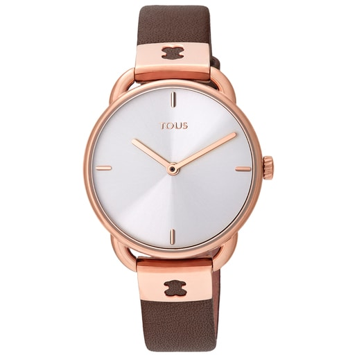 Rose IP Steel Let Leather Watch with brown Leather strap