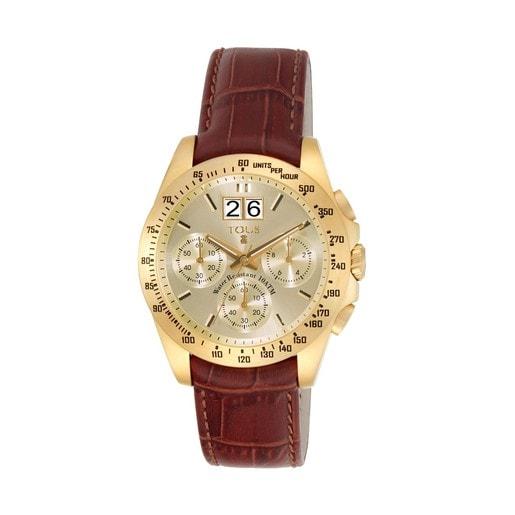 Montre Drive Crono en Acier IP doré avec bracelet en Cuir marron