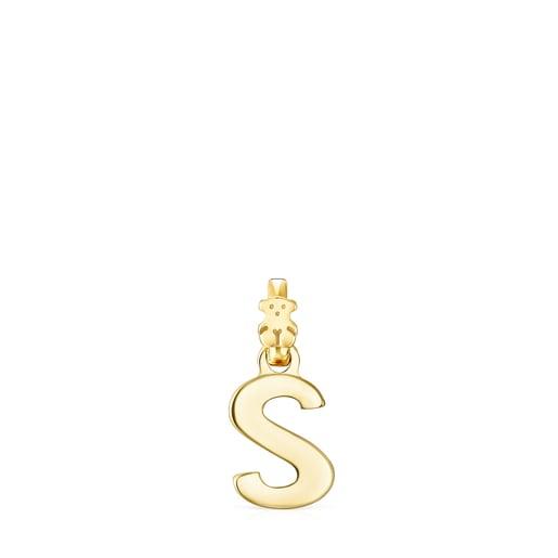 Alphabet letter S Pendant in Silver Vermeil