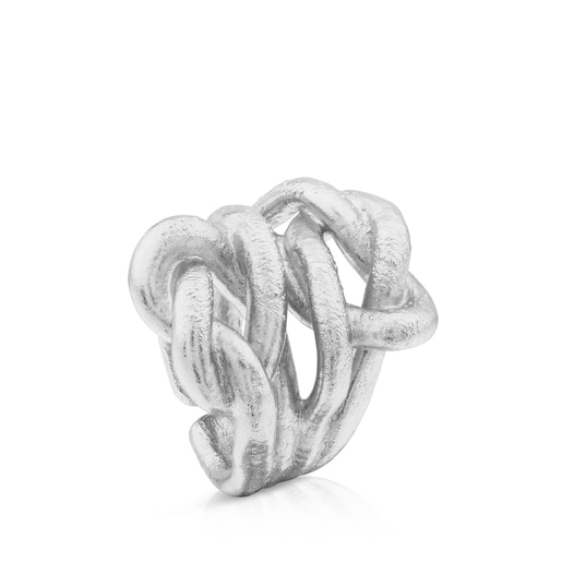 Silver Duna Tube Ring with Knot motif