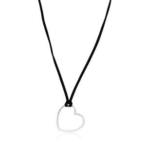 Silver San Valentín heart Necklace with black Cord