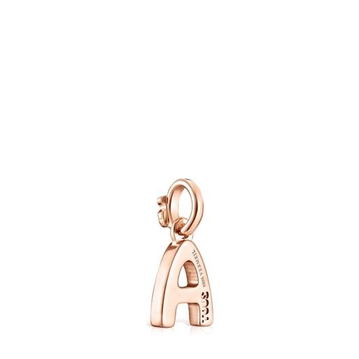 Pingente Alphabet letra A em Prata Vermeil rosa