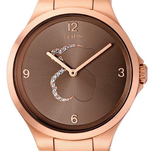 Uhr Motion aus rosa IP Stahl mit durchsichtigen Kristallen