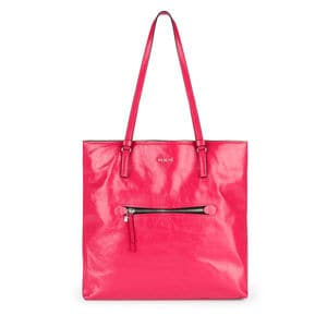 Large fuchsia Leather Tulia Crack Shopping bag