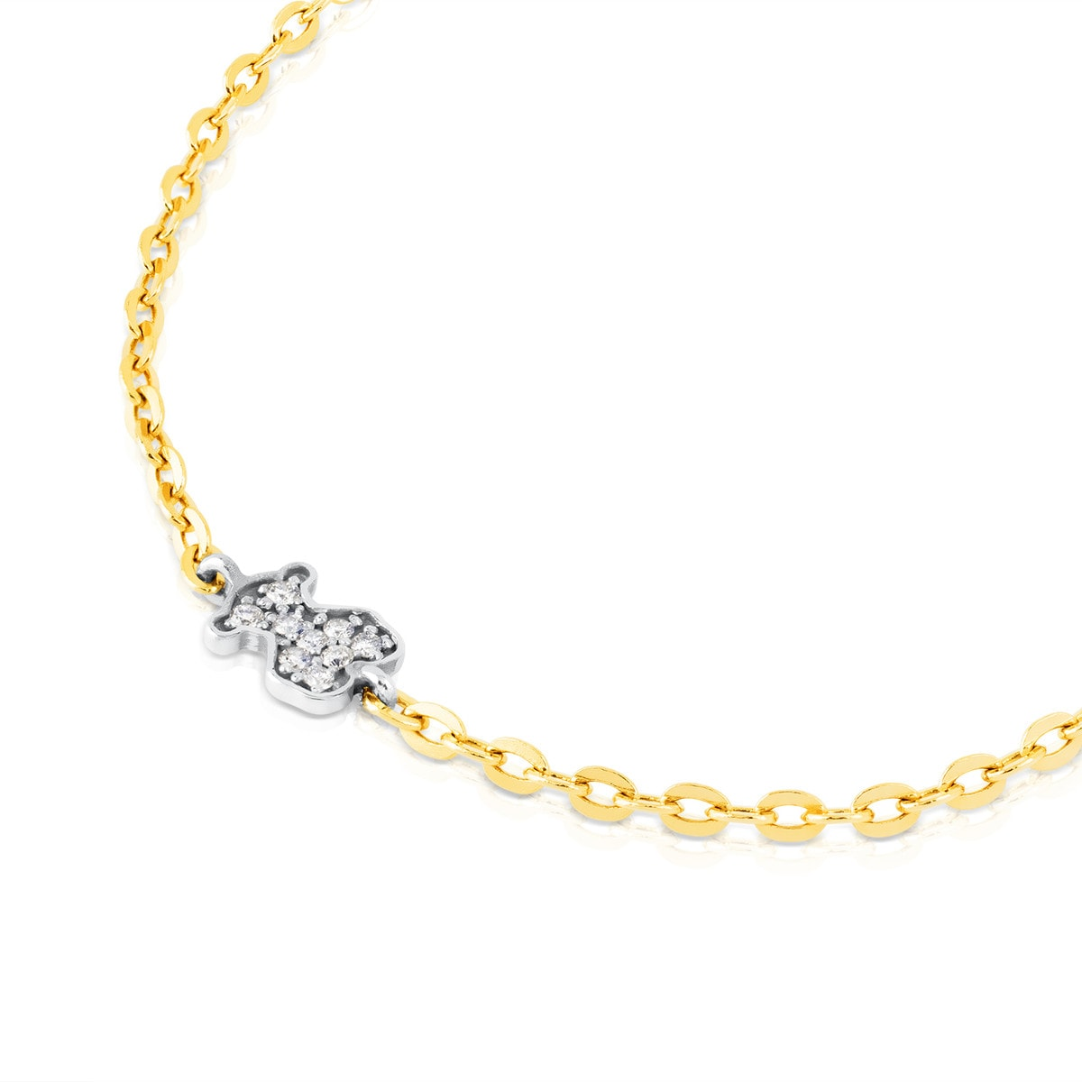 Yellow and White Gold Baby TOUS Bracelet with Diamond
