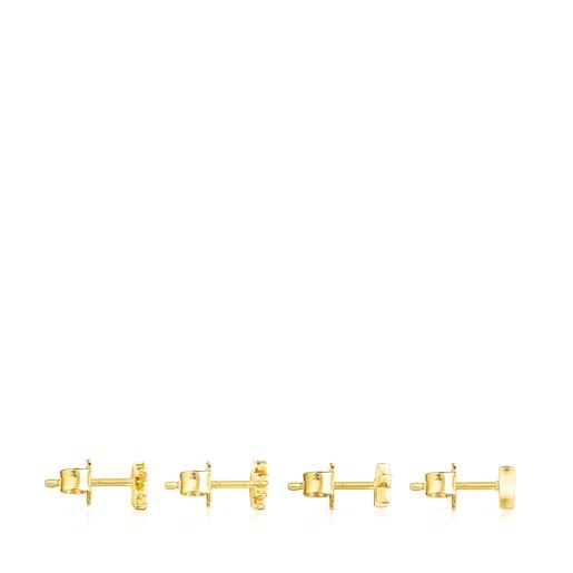 Σετ με Σκουλαρίκια Teddy Bear από Ασήμι Vermeil με Πολύτιμους Λίθους
