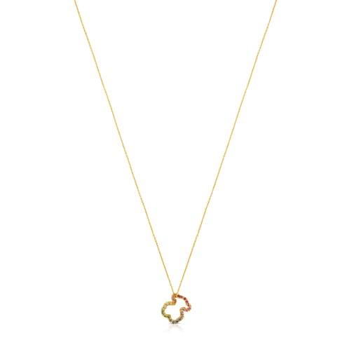 Collar de oro con gemas multicolores motivo oso pequeño Icon