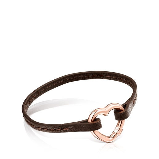 Hold heart Bracelet in Rose Vermeil and brown Leather