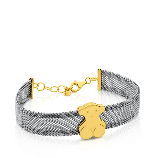 Gold and Steel Icon Mesh Bracelet