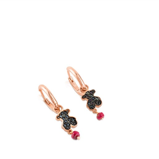 Rose Vermeil Silver TOUS Motif Earrings with Spinel and Ruby and Bear motif