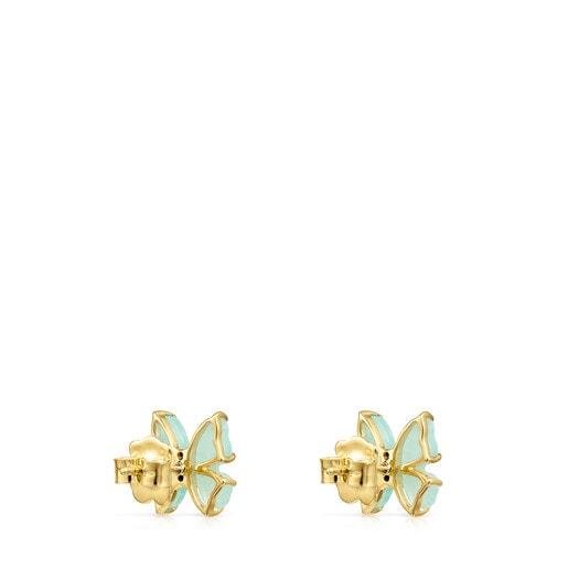 Aros Vita mariposa de Oro con Amazonita y Rubí