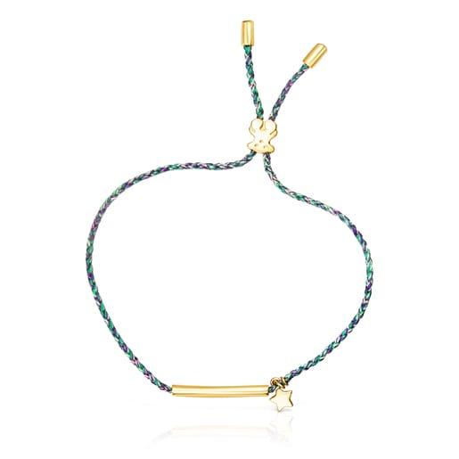 Braçalet TOUSGoodVibesestrella de platavermeili cordó verd
