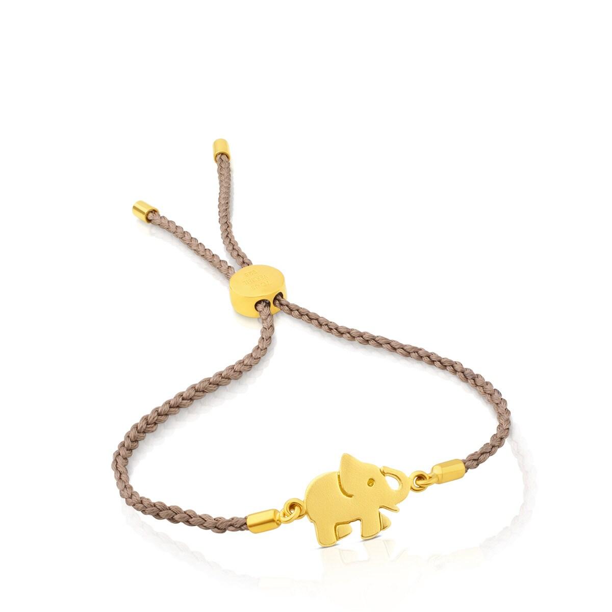 d3cf61d2b7b8 Vermeil Silver Idol Luck Bracelet with beige Cord - Tous Site Puerto ...