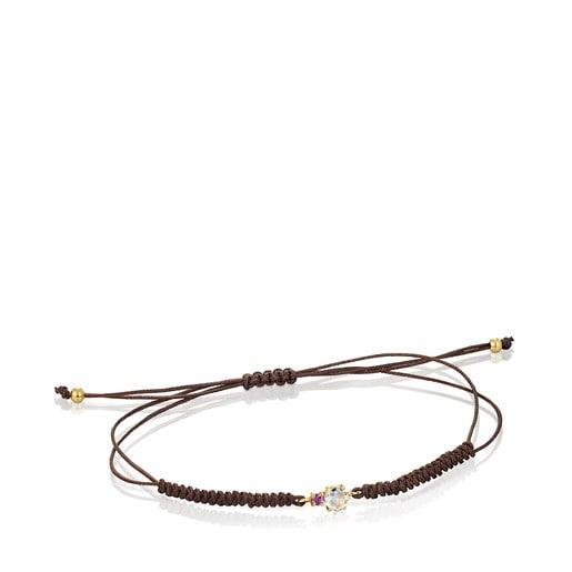 Pulsera de oro con prasiolita, amatista y cordón marrón Mini Ivette