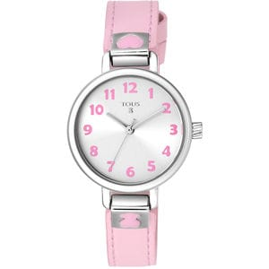 Steel Dream Watch with pink leather strap