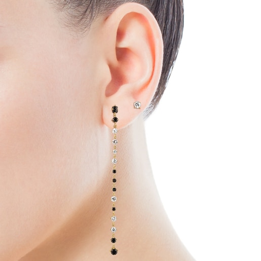 Short/long Silver Vermeil Glaring Earrings with Onyx and Zirconia