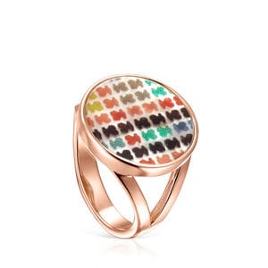 Small Rose Gold Vermeil with Mother-of-Pearl Tartan Ring
