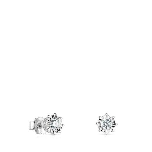 Arracades Les Classiques d'Or blanc i rosetó de Diamants petites