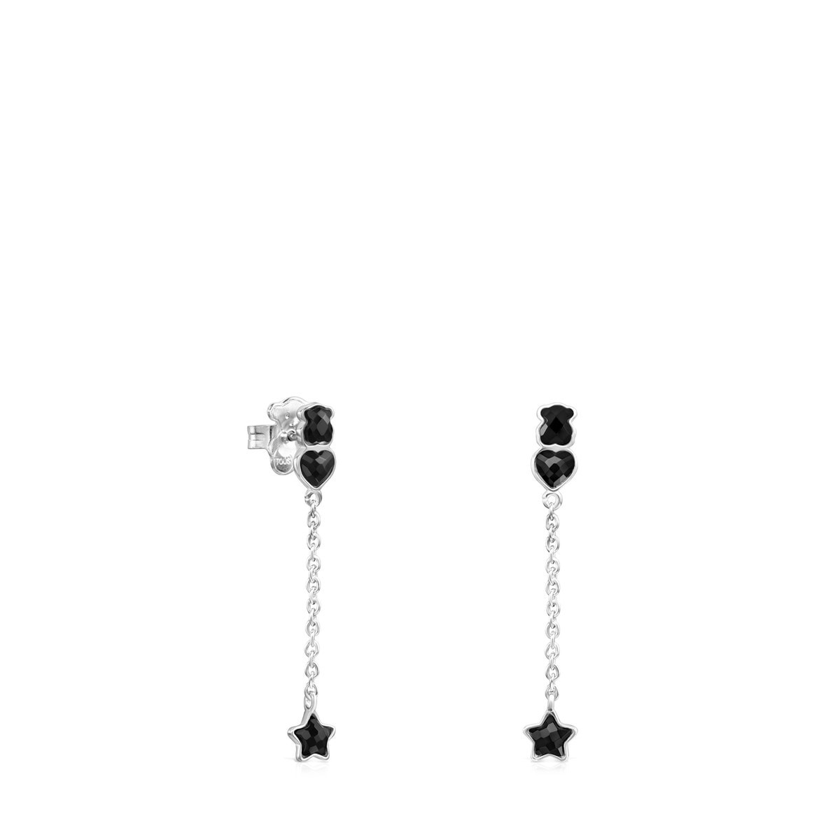 Short Mini Onix Earrings in Silver with Onyx