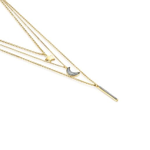 Collier Nocturne triple en Or Vermeil, Diamants et Perle