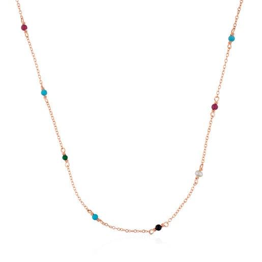 Collar Super Power de plata vermeil rosa con gemas multicolores 40cm.