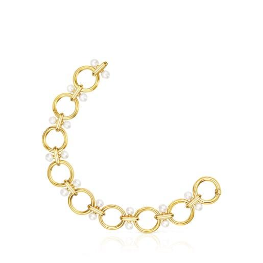 Pulsera Hold anillas de plata vermeil y perlas