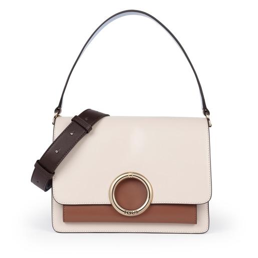 Medium beige and brown Audree crossbody bag
